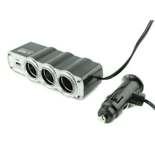 hub-triplo-socket-3-portas-veicular-12v-ou-24v-c-usb-5v-500mha-oem